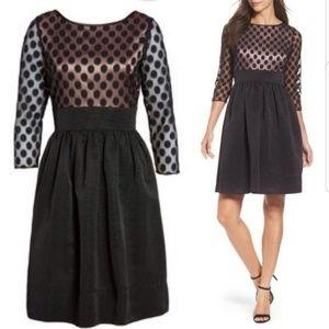 [Eliza J] Dot Mesh Fit and Flare Dress 12